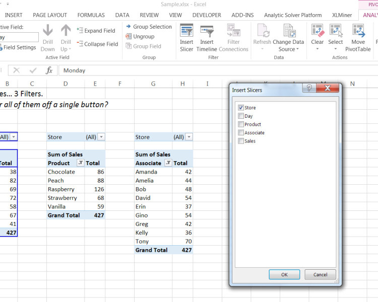 Filter Multiple Pivot Tables with One Slicer