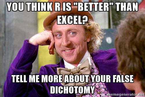 R vs Excel? VLOOKUP vs INDEX/MATCH? Enough with the False Dichotomies!